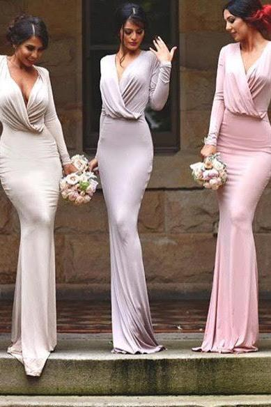 long sleeves sexy bridesmaid dresses,simple unique style bridesmaid dress,long bridesmaid dress ,bridesmaid gown