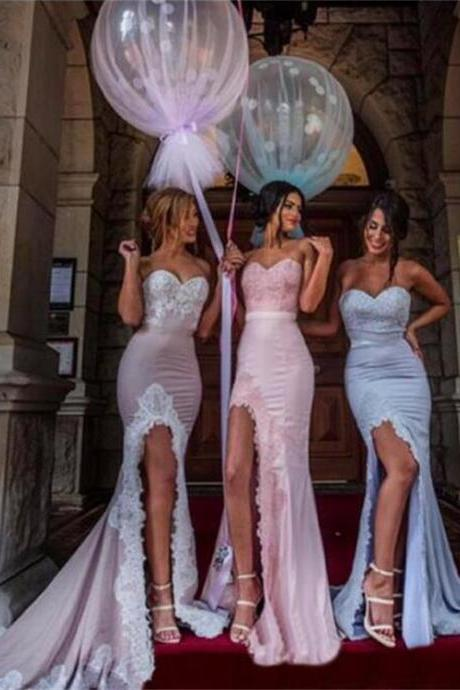 Sweetheart Mermaid Prom Dresses ,Side Slit Bridesmaid Dresses,Fashion Most Popular Elegant Formal Bridesmaid Gown ,Dresses for Wedding Party