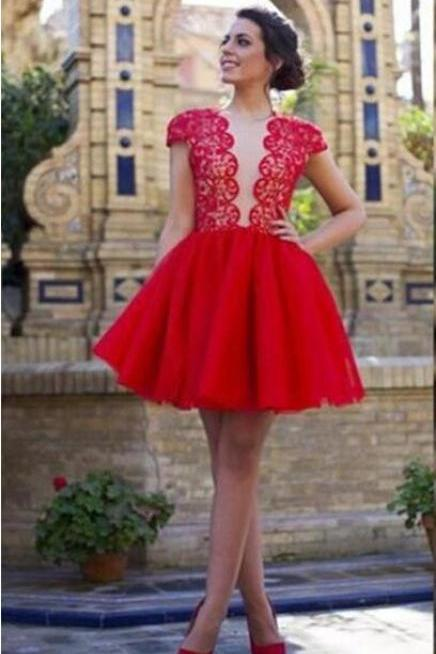 Red Homecoming Dress,Cap Sleeves Homecoming Dress,Open Back Homecoming Dress, Custom Homecoming Dress,Graduation Dress , Homecoming Dresses