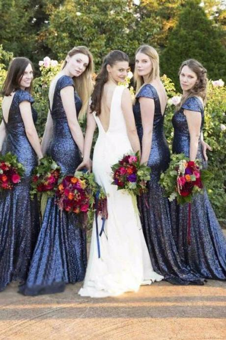Blue Sequin Bridesmaid Dresses,Mermaid Bridesmaid Dress,V-Back bridesmaid dress,Cheap bridesmaid dress, Wedding Party Dresses,Long Bridesmaid Dress,Bridesmaid Dresses