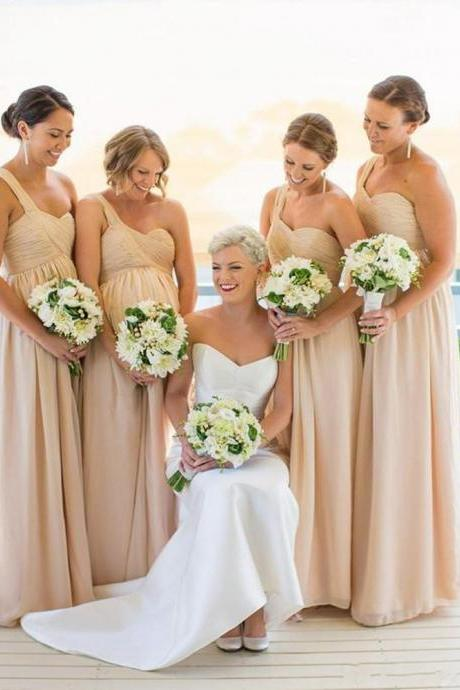 One shoulder Bridesmaid Dresses,Chiffon Bridesmaid Dress,Simple bridesmaid dress,Cheap bridesmaid dress, Wedding Party Dresses,Long Bridesmaid Dress,Bridesmaid Dresses