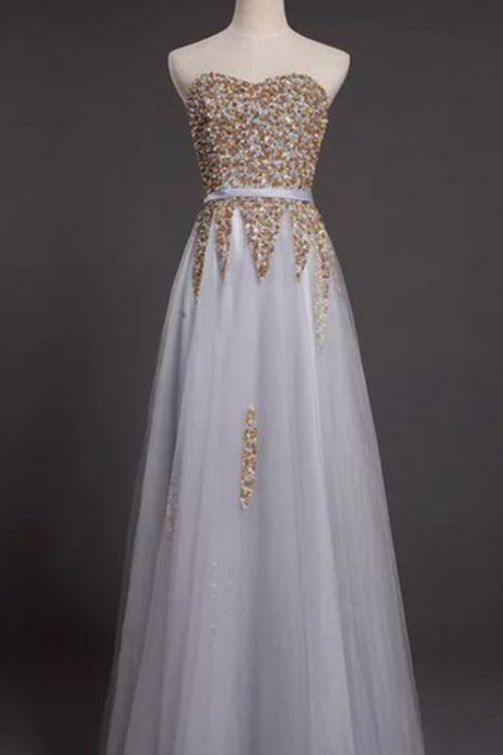 Charming Prom Dress,Tulle A-Line Evening Dress Featuring Beaded Embellished Sweetheart Bodice