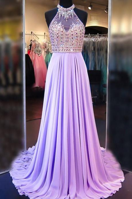Charming Prom Dress,chiffon Prom Dress, A Line Cowl Neck Sleeveless Long Pleated Beaded Lilac Prom Dress Open Back Prom Dresses