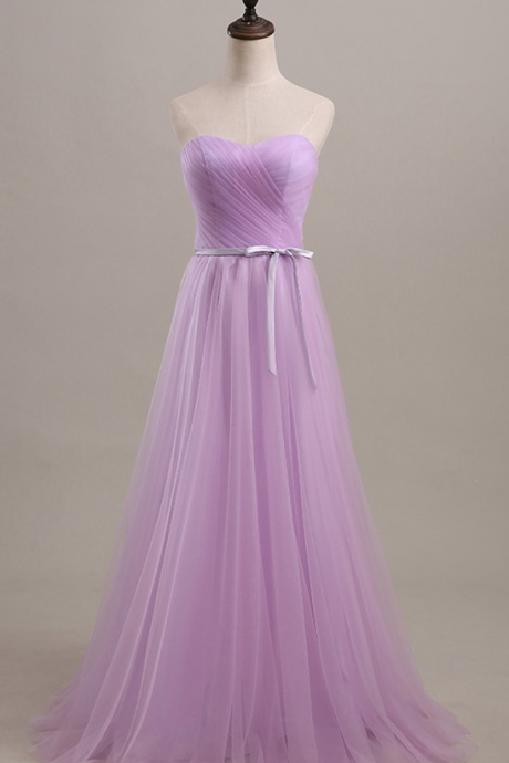 Floor Length Sweetheart Lilac Ruched Tulle Prom Gown with Bow Accent