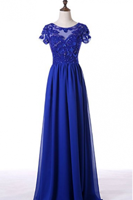 Royal Blue Short Sleeve Sequin Applique Chiffon Long Evening Dresses