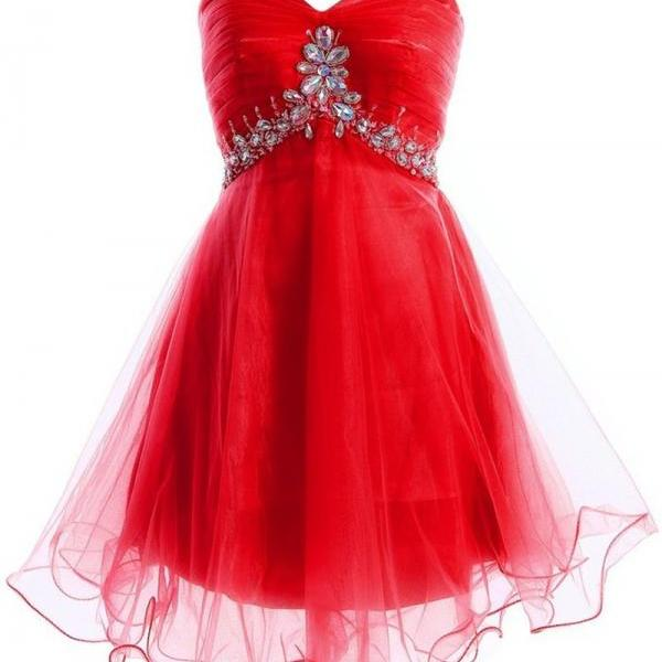 Red Ruched Sweetheart Short Tulle Homecoming Dress Featuring Crystal Embellishments