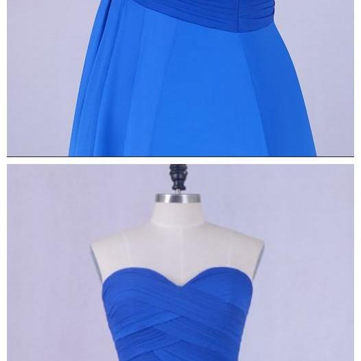 LORIE Short Homecoming Dress Gradual Sweetheart Pleats A-Line Chiffon Short Mini Prom Dress Blue Party Gown Free Shipping
