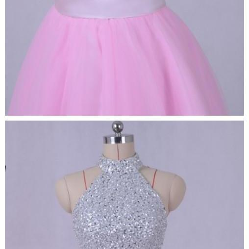 Pink Homecoming Dress High Neck A-Line Sequined Beaded Short Mini Party Gown vestido de formatura curto cocktail dresses