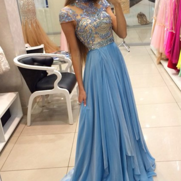 Blue Prom Dresses,Elegant Evening Dresses,Long Formal Gowns,Beaded Party Dresses,Chiffon Pageant Formal Dress,Prom Dresses