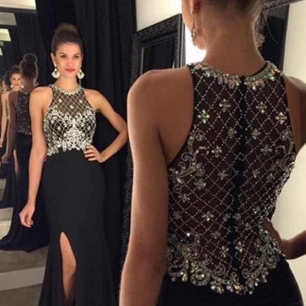 Black Prom Dresses,Backless Prom Dress,Sexy Prom Dress,Simple Prom Dresses,2016 Formal Gown,Beading Evening Gowns,Beaded Party Dress,Prom Gown For Teens