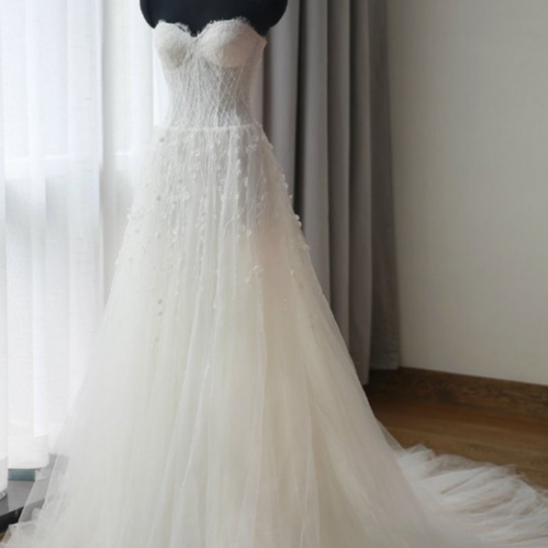 Tulle Wedding Gown Featuring Crystal Flower Embellishments and Lace Strapless Sweetheart