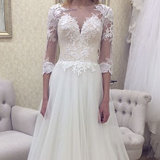 Cheap Long A line Scoop Neckline Lace Appliques Wedding Dresses