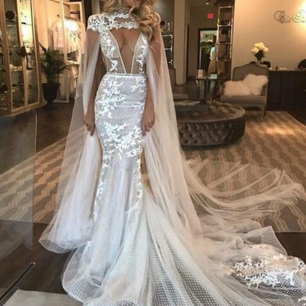 Unique Mermaid Lace Wedding Dresses Sexy Deep V Neck Gorgeous Puffy Bridal Gowns with Shawl