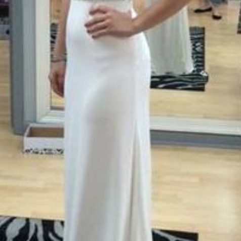 Simple Design Cross Back Rhinestone Shoulder Long Sheath Prom Dresses