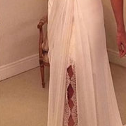 White Tulle Prom Dress, Off The Shoulder Long Prom Dress, Elegant Slit Side Party Dress