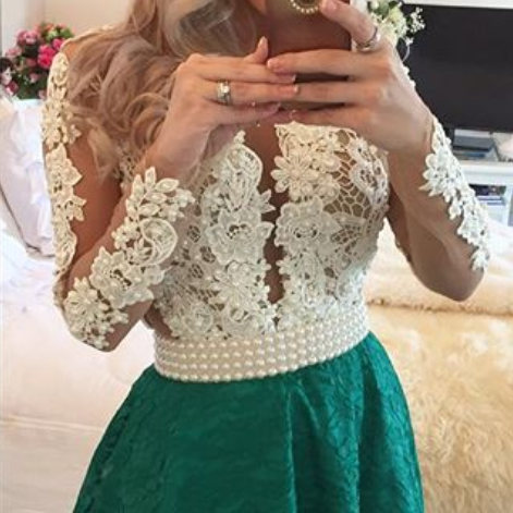 Long Sleeves Lace Pearls Short Homecoming Dresses Deep V Neck Sheer Tulle Short Sexy Party Dresses