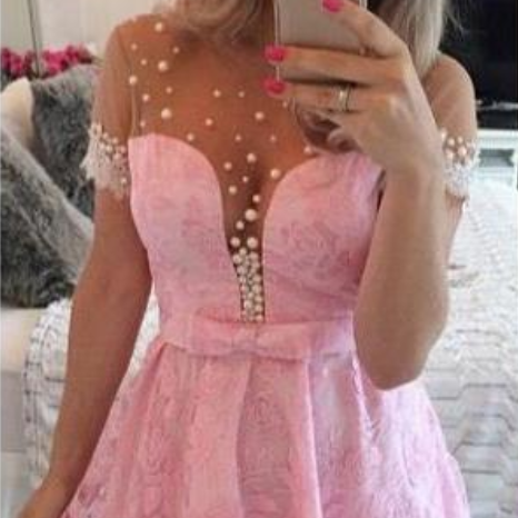 Mini A-Line Lace Homecoming Dresses Short Sleeves Beaded Prom Dresses with Bow