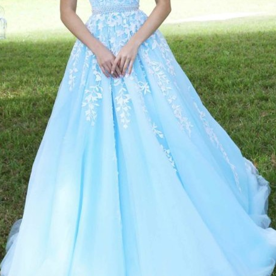 Beaded Tulle Senior Prom Dress, Lace Prom Dress, A-line Prom Dresses, Strapless Prom Dress, Blue Prom Dress