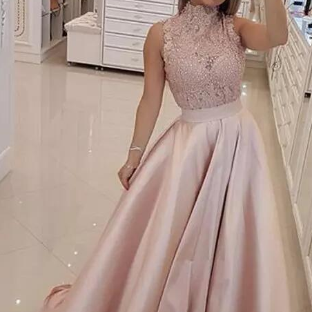 Vestidos de Fiesta Light Pink Prom Dresses High Neck Lace Applique Beaded A Line Long African Formal Evening Dress