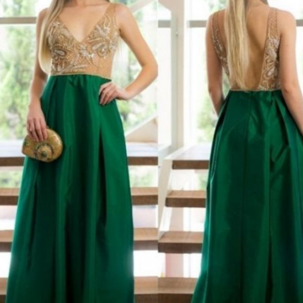 Charming Dark Green Prom Dresses,A Line Satin Evening Dresses, Beading Crystals Prom Dress, Sexy Deep V Neck Party Dress