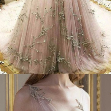 Custom Made Unique Chic Pink Vintage Prom Dress Lace V Neck Beautiful Prom dress