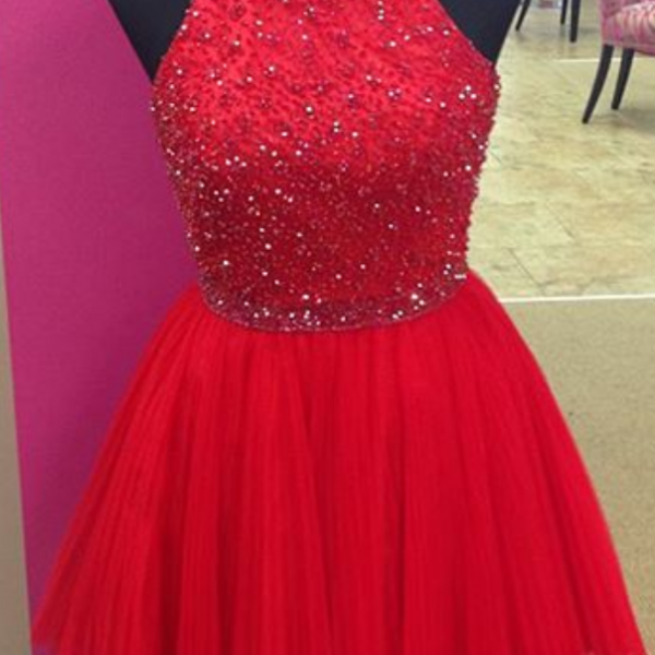 Homecoming Dresses,Elegant Lace Beaded Halter Pleated Tulle Prom Gowns Short Homecoming Dress