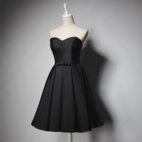 Homecoming Dresses,Sexy Short Black Satin Prom Dress , Graduation Dresses ,Party Dresses,Short Evening Dresses, Short Prom Dress ,Little Black Dresses,Black Homecoming Dresses