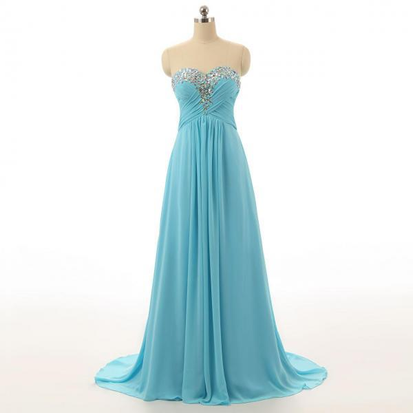 prom dresses,Sweetheart Chiffon A-line Floor-length Dress featuring Rhinestone Beaded Bodice and Sweep Train