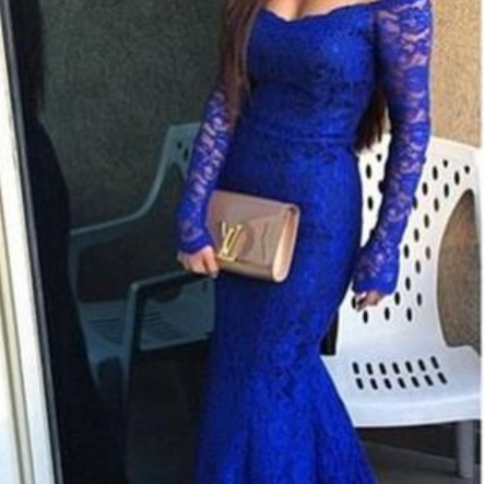 Custom Made Blue Off-Shoulder Neckline Long Sleeve Lace Mermaid Long Evening Dress, Prom Dresses, Formal Dress, Wedding Dress