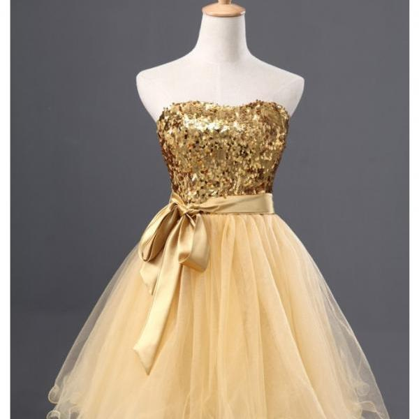Tulle Homecoming Dress, Gold Homecoming Dress,Graduation Dress , Homecoming Dresses ,Prom Dress for Teens